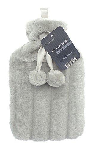 Country Club Borsa dell' acqua calda di lusso in finta pelliccia & pompon, capacità 2litri Light Grey
