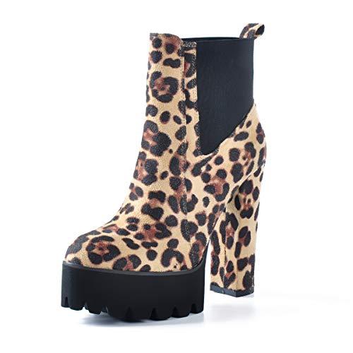 Bequeme elastische Plateaustiefel f¨¹r Damen, runde Zehe, klobige High Heel Pull on Ankle Booties Leopard EU35 -