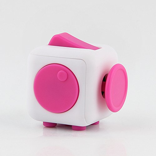 Fidget Magic Cube Release Stress and Desk Toy for Children and Adults (White/Pink)