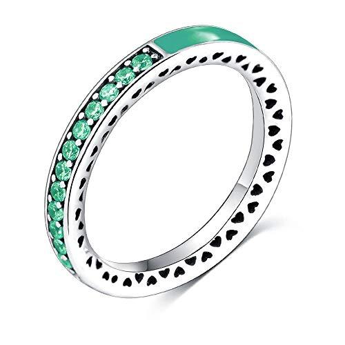 SSLL Ringe für Silber Farbe Radiant Heart Bright Mint Und Royal Green Crystal Damenring Verlobungsring, 9 -