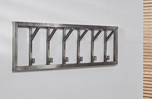 MSZ Design Wandgarderobe Industrial 6 Edelstahl antik gebürstet