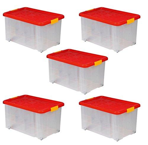 5 x Aufbewahrungsboxen aus Plastik, 60x40x30 cm, mit Deckel, Eurobox, mit Rollen, stapelbar, 55L