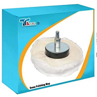 TK9K® - Power Tool Accessories Polishing Dome Polishing Mop 110mm High quality 100% soft grade cotton. For final polishing of interior, flat and irregular surfaces. 6mm dia arbor fits most power drills.