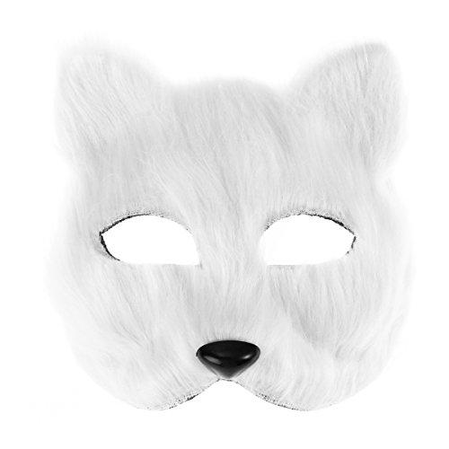 LUOEM Maskenball Masken Half Face Fox Maske Kostüm Cosplay Kostüm Zubehör - Fox Kostüm Für Erwachsene