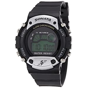 Sonata Super Fibre Digital Grey Dial Men's Watch -NK7982PP02
