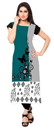 Ziyaa Women's Straight Fit Synthetic Kurta (ZIKUCR238-M-multicoloured-M)