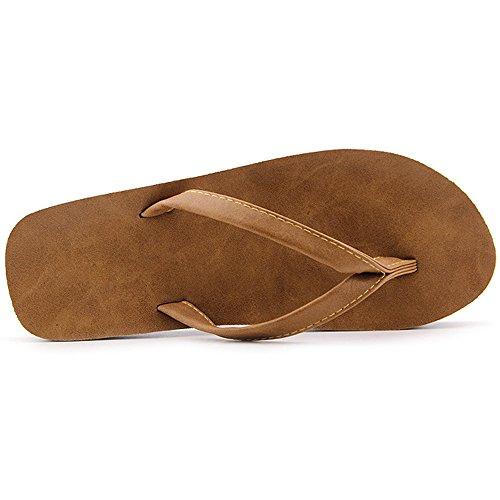Eastlion Frauen und Herren Sommer Hausschuhe Flip Flops Strings Strand Hausschuhe Schuhe Braun