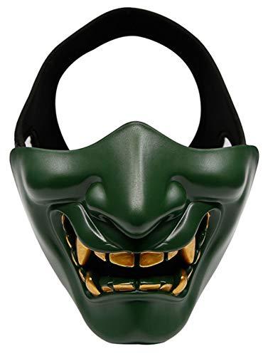 Mann Green Jugend Kostüm - Horror Halloween, Teufel Dämon Horror Grimasse Cosplay Kostüme Männer und Frauen Erwachsene Werden wie eine halbe Gesichtsmaske lachen,Grün