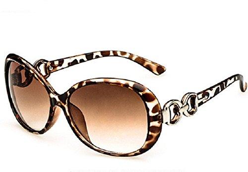 ♚ M2 - Leopard - Sonnenbrille große Vintage Frau retrò polarisiert UV400 (Weiblich Männlich Zeichen)