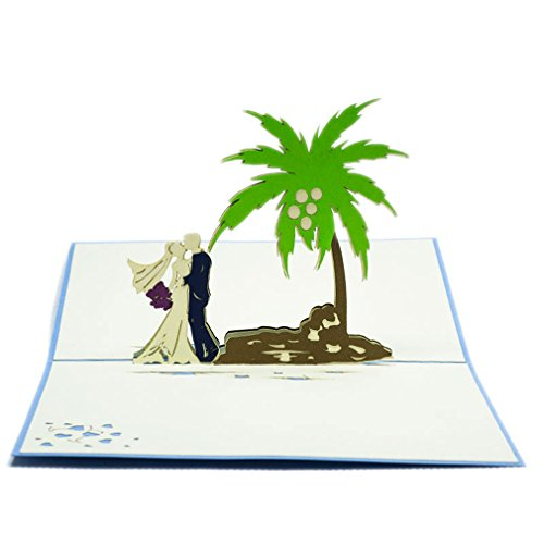 Favour Pop Up Hochzeitskarte - Paar unter Palmen. Stilvolles Design, aufwändige Handarbeit und ausgefeilte Lasertechnik schaffen auf kleinstem Raum ein filigranes Kunstwerk.. TW029