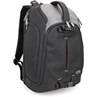 Camera Backpack, Evecase large DSLR Camera Backpack with 15.6 Inch Laptop Compartment for for Canon, Nikon, Sony, Fujifilm, Panasonic, Pentax, Samsung, Olympus and More - Black / Grey