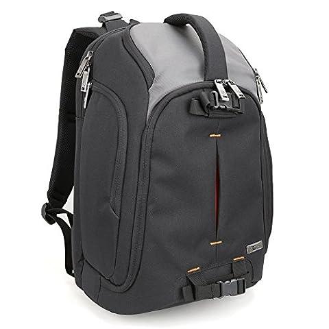 Evecase SLR DSLR Kamerarucksack für Spiegelreflexkameras & Zubehör mit Laptopfach, Regenschutz, Stativhalterung, Zubehörfächer, Herausnehmbare Trennwand - Schwarz