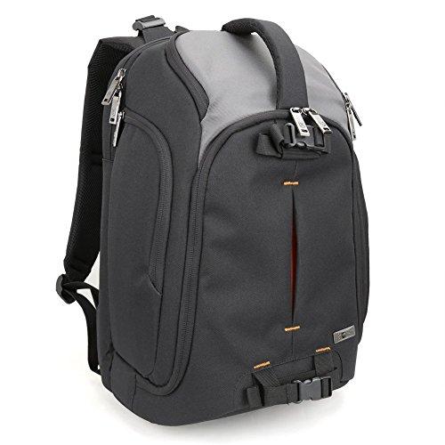 Kamera Rucksack, Evecase Große DSLR-Kamera Rucksack mit 39,6cm Laptop Fach für für Canon, Nikon, Sony, Fujifilm, Panasonic, Pentax, Samsung, Olympus und mehr–SCHWARZ/GRAU