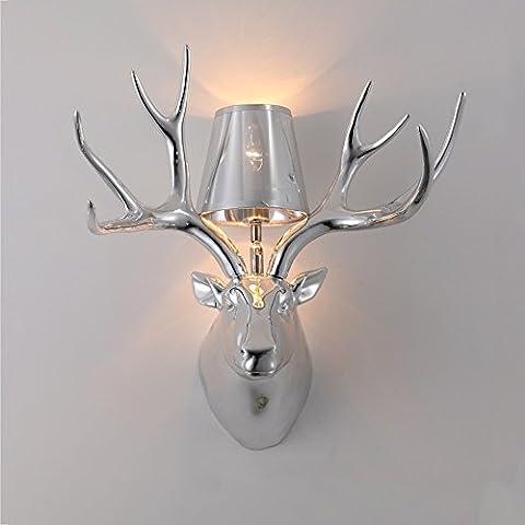 American Village Matte Black Resin Deer Kopf Horn Wand Lampe Kreatives Schlafzimmer-Gang-Wohnzimmer-Qualitäts-Gold / Silber-Überzug-Wand-Licht (mit Lampenschirm) 50CM * 48CM ( Farbe : Silver plating (Freiheit Bronze Bronze-skulptur)