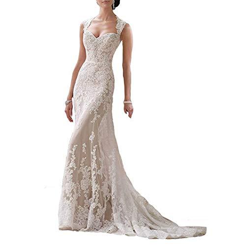 ELEGENCE-Z Brautkleid , Frau V Mermaid Lace Brautkleider für die Braut L