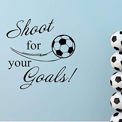 WWYJN Shoot for Your Goals Quote Wall Decal Removable Vinyl Sport Decal Soccer Ball Wall Decals Football Goal Boys Room Decor Blue 57x57cm (Boys Blue Nikes)