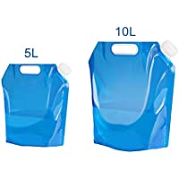 AINOLWAY Folding Water Container, 5L+10L 2Pack Outdoor Folding Water Bag Container BPA Free Non-toxic Odorless Water Storage Bag for Camping Hiking Picnic BBQ Foldable Blue