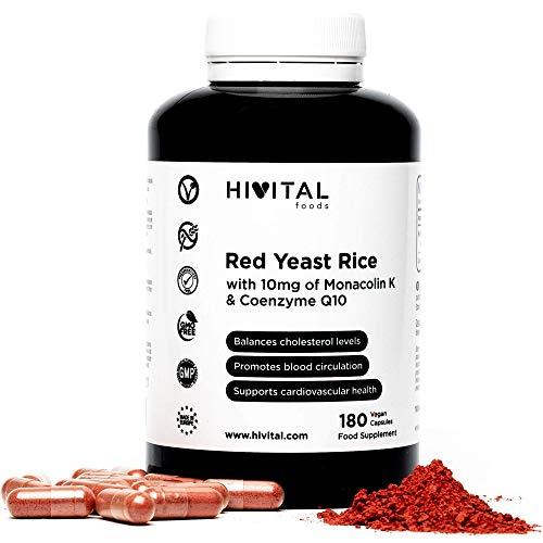 Levadura de Arroz Rojo con 10 mg de Monacolina K y 5 mg de Coenzima Q10 | 180 cápsulas vegetales | Suministro para 6 meses | Regula los niveles de colesterol sanguíneo