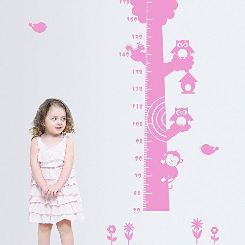 ufengke® Grand Arbre Hiboux Mignons Singe Toise Stickers Muraux, La Chambre Des Enfants Pépinière Autocollants Amovibles, Rose