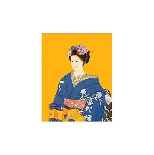 nach Zahlen japanische kostüm Kimono schönheit leinwand handgefertigte Japan wandkunst Bild für wohnkultur Erwachsene 40x50 cm kein Rahmen ()
