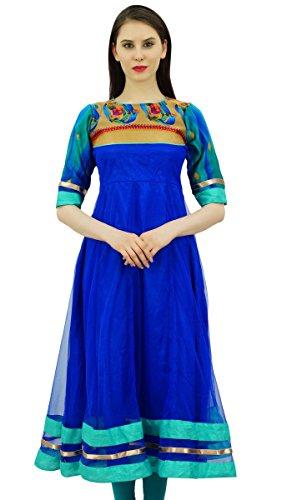 Bimba Etnica Donna Kurta Progettista Anarkali Kurti Usura Del Partito Tunica Vestito Blu reale