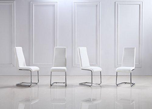 i-flair 4 Stück weiße Schwingstühle, Küchenstühle mit hochwertigem Kunstlederpolster S5