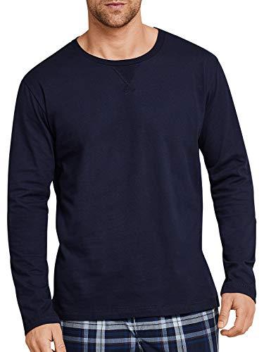 Schiesser Herren Schlafanzugoberteil Shirt 1/1 Langarm - 163727, Farbe:dunkelblau, Größe Herren:58