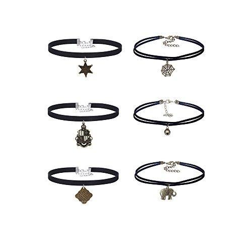 MingJun 6 PCS Double Layer Velvet Choker Set Halskette Leder Gothic Halskette Anhänger Kette für Frauen Mädchen Teens (Double-layer Velvet)