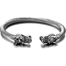 Elástica Ajustable única Brazalete Dragón de Hombre, Cable de Acero Inoxidable, Color Plata