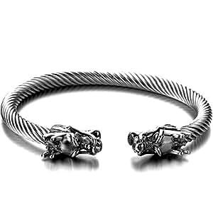 élastique Réglable - Unique Bracelet Dragon Homme d'acier inoxydable - Bracelet Manchette Câble Torsadé - Couleur Argent