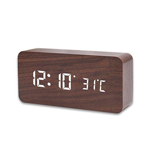 Digital Elektronischer Wecker, LinLang, LED-Uhr, Nachtsicht, Sprachsteuerung, USB oder 4 * AAA-Batterien, für Wohnzimmer, Büro, Schlafzimmer 17 * 9 * 5CM (Wort in Weiß und Holz in Braun) DN023