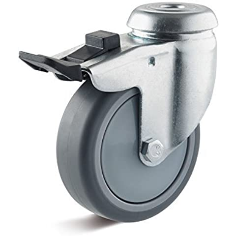 75mm Apparati Ruota girevole con Doppio arresto Thermoplast ruota Forza portante 50kg