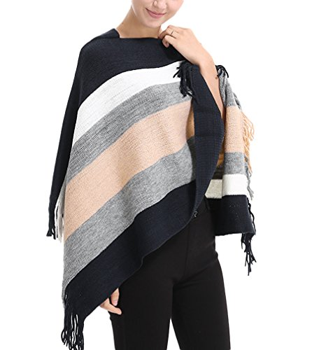 PassMe Poncho Invernale Donna Mantella Strisce Cappotto Sciolto Scialle Cardigan a Maglia con Nappe Elegante Rosa