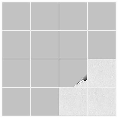 Autocollant en tuile FoLIESEN pour salle de bain et cuisine - 15x15 cm - gris clair matt - 50 autocollants pour les carreaux de murs