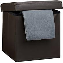 Relaxdays - Banco baúl plegable con espacio de almacenamiento hecho de cuero sintético con medidas 38 x 38 x 38 cm asiento estable 40 L capacidad, color marrón