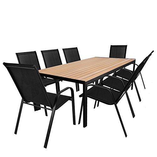 9tlg. Sitzgarnitur - Gartentisch, Aluminiumrahmen, Polywood Tischlatte braun, 205x90cm + 8x Stapelstuhl, Textilenbespannung schwarz / Sitzgruppe Gartenmöbelgarnitur Terrassenmöbel