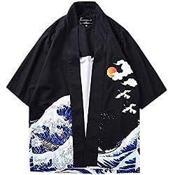 Hombre Camisa Kimono Hippie Cloak Estilo Japonés Estampado Holgado Manga 3/4 Cardigan 811003 L