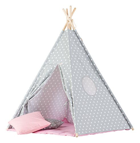 wigiwama Teepee Dots grau mit pink Matte (Kleinkind Bettwäsche Dots)