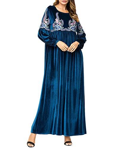 Zhhlaixing Musulman Islamica Abaya Vestido Bordado - Otoño Talla Grande Suave Kaftan Caftán Ajustado Túnica para Mujeres Musulmanas