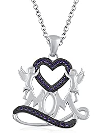 "Silvernshine 1.35 Ct Amethyst Mom Heart Pendant 18"" Chain Necklace In 14K White Gold Fn"
