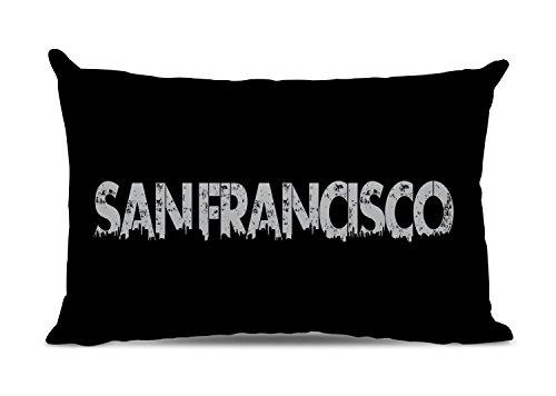 Michelle O'Hollaren Designs San Francisco Kissen San Francisco Skyline Pillow Pillow Stadt Städtisches Dekokissen San Francisco Geschenk Stadt San Francisco Schwarz