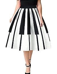 Femme Jupe Élégant Confortable Taille Elastique Plissé Jupe Clés de Piano Imprimées Printemps Été Casual Mi-Longue Jupe pour Fête Bureau Grande Taille Blanc S-XL