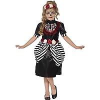Smiffys Déguisement Enfant, Jour des morts, avec robeet bandeau rose, Âge 10-12 ans, Couleur: Noiret blanc, 44290