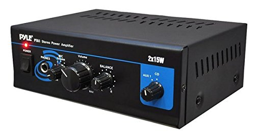 Pyle Home PyleHome PTA1 Mini 2x 15W Stereo Power Amplifier with AUX, CD and Mic