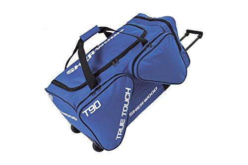 SHER-WOOD - Eishockeytasche T 90 True Touch mit Rollen I Tasche für Hockeyschläger I Hockey Bag aus Nylon I Transporttasche für Eishockeyausrüstung I für Eishockeyschläger I Blau - 116 Liter (S)