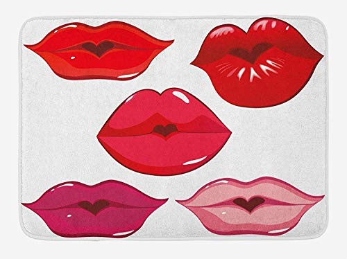 Doormats Kiss Bath Mat, Woman Sexy Lip Heart Shape Kiss Female Love Valentine Affection Amour Make Up, Plush Bathroom Decor Mat with Non Slip Backing, 23.6 X 15.7 Inches, Red Rose Pink White (Kiss Scrub Lip)