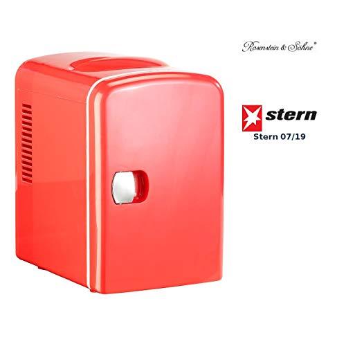 Rosenstein & Söhne Kühlschrank für Dosen: Mini-Kühlschrank mit Warmhalte-Funktion, 4 Liter, für 12/230 Volt, rot (Mini Kühlschrank für Dosen)