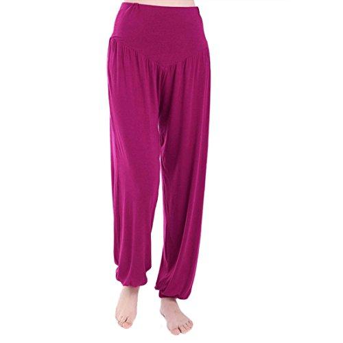 Vertvie Femme Modal Pantalon de Sport Sarouel Bouffan au Chevilles Fermée Palazzo Casual Pantalon Harem Yoga Pilates pourpre