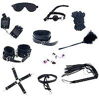 Sexy banda vinculante traje de cuero negro felpa 10 piezas cruz conjunto para adultos hombres y mujeres juegos de liar