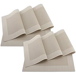 SueH Design Juego de Manteles Individuales de 8 Unidades Oro en PVC 45 * 30 CM